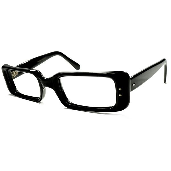 ミクリ調 超実用的フレンチモードDESIGN デッドストック 1960s フランス製 FRAME FRANCE フレーム フランス 短縦幅&立体的処理 SQUARE 極艶 黒 BLACK 48/22 a5440 セルフレーム ビンテージヴィンテージ 眼鏡メガネ