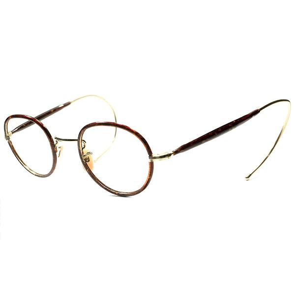 デッド級 デイリーユース余裕OK 日本人向け 問答無用 超快適サイズ個体 1940-1950s MADE IN ENGLAND 当時英国大御所メーカー W.OC セル巻x金張PANTOラウンド 丸眼鏡  丸メガネa5463 ビンテージヴィンテージ 眼鏡メガネ