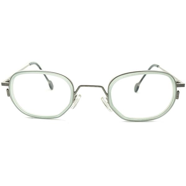 超ハイレベルサンプリング 1990s イタリア製 デッドストックl.a.Eyeworks アイワークス 唐草模様彫金& 当時存在SKYブルー生地 インナーリム 変則 OVAL ラウンド 丸メガネ ビンテージヴィンテージ 眼鏡メガネ a5485