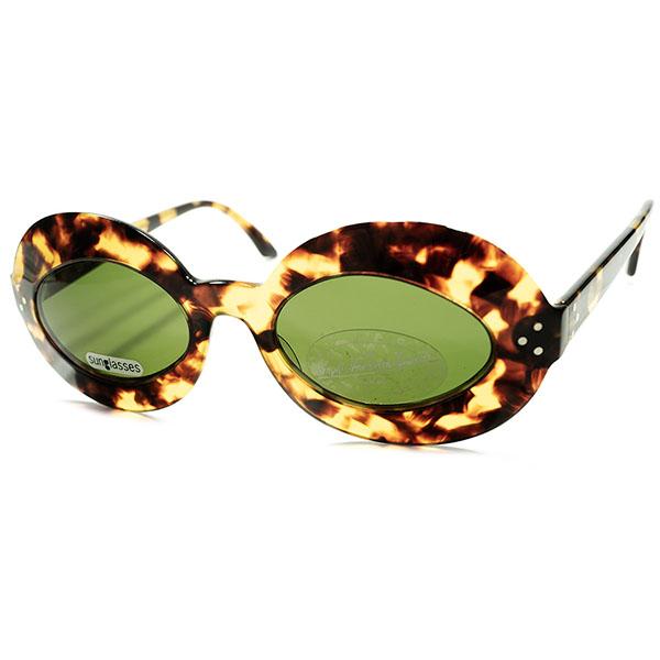英重鎮渾身作品#2 デッドストック DEADSTOCK 1980s-1990s 英国製 MADE IN ENGLAND ANGLO AMERICAN アングロアメリカン 3ドット球面幅広リムOVALラウンド鼈甲柄 サングラス ヴィンテージ 丸眼鏡 丸メガネ a5525