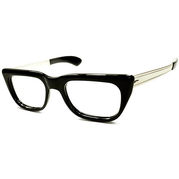 老舗顔的MODEL レアテンプル仕様 オリジナル品 極上個体 1960s 西ドイツ製 RODENSTOCK ローデンストック ROCCO黒 size48 ビンテージ 眼鏡 メガネ a5529