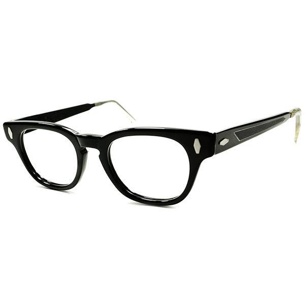 50s黒好き必見 アングラ RUDEテイスト 1950s デッドストック USA製 KEY HOLExDIAMOND 短縦ウェリントンxメタルDECO テンプル46/20 ALL-BLACK仕様 a5585 ビンテージヴィンテージ 眼鏡メガネ MADE IN USA