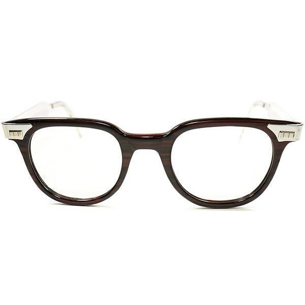 HEAVY DUTY x MID CENTURY 超激渋 RAREディティール1950s デッドストック USA製 FDR系 SHAPE ローズウッドx メタル 実寸46/22 a5586 ビンテージ ヴィンテージ 眼鏡 メガネ