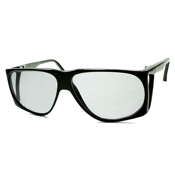 手彫りSTRIPE入 変態ディティール 1950s-70s DEADSTOCK デッドストック フランス製 MADE IN FRANCE 芯なし角残しCUTTINGテンプル 一体型サイドシールド AVIATOR サングラスビンテージ 眼鏡 メガネ a5608