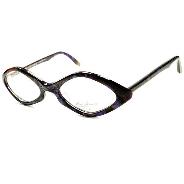 BRITISH鋭角モードDESIGN 良質モダンビンテージ 1980s DEADSTOCK デッドストック 英国製 MADE IN ENGLAND ANGLO AMERICAN アングロアメリカン ダイヤシェイプ紫系大理石パターン ビンテージヴィンテージ 眼鏡メガネ a5611