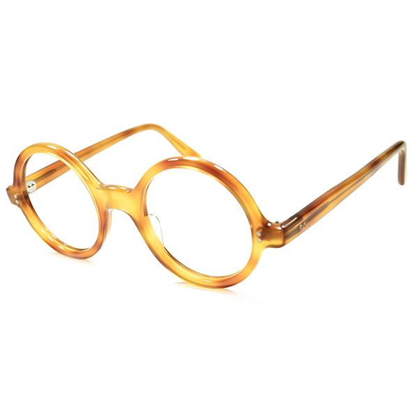 理想的丸眼鏡像x 欧米人気カラー 1950s フランス製 デッドストック DEADSTOCK HONEY AMBER 正円コルビジェラウンド 丸眼鏡 メガネ 超GOOD SIZE 44/22実寸 a5621