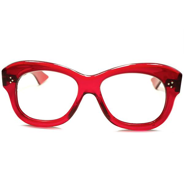 大戦前後PROUVEテイスト同モデル超希少色個体 1940sFRAME FRANCE フレーム フランス フランス製 デッドストック DEADSTOCK 芯なし極太TEMPLE 3DOT ウェリントンPANTO ビンテージヴィンテージ 眼鏡メガネ a5629
