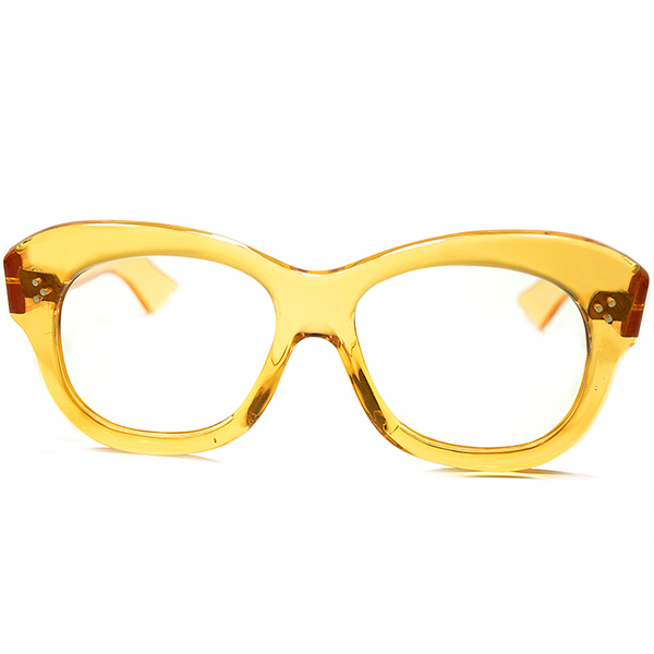 鮮烈マスタード色x3ドットPROUVEテイスト同モデル超希少色個体 1940sFRAME FRANCE フランス製 デッドストック DEADSTOCK 芯なし極太TEMPLE 3DOT ウェリントン PANTO メガネ 眼鏡 a5630