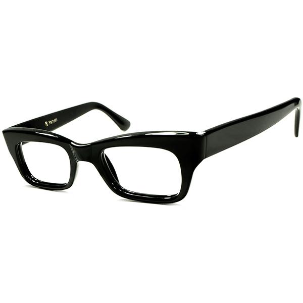 歴代最多9枚蝶番 ダンディLOOK&世界TOPクオリティ 1960s英国製 マイケル・ケインSTYLE ヒンジレスBLACK ウェリントン眼鏡 size44/22 ビンテージヴィンテージ 眼鏡メガネ a5633