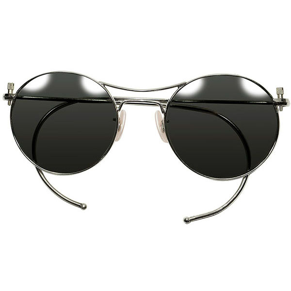 エグ目LOOK 剥き出しBIG SCREW 40s-50sフレンチミリタリー AVIATOR アビエーター PANTO サングラス PINKベークライトPAD オリジナル球面ガラスレンズ入 ビンテージ メガネ 眼鏡 a5635