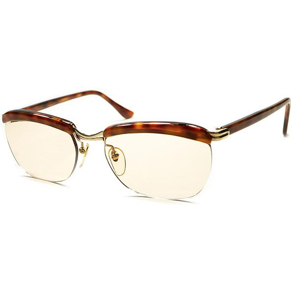 宝飾級MOODx最高精度 1950s-60s DEADSTOCK デッドストック フランス製 MADE IN FRANCE 本家 AMOR アモール FRAME FRANCE フレーム フランス 本金張 リムレスブローDEMIx BROWN LENS ビンテージヴィンテージ 眼鏡メガネ a5662