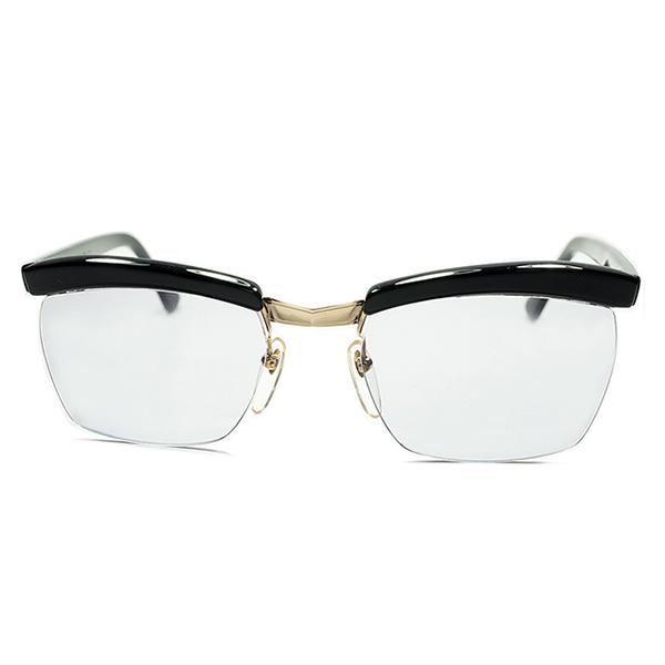 上質高品位アクセント 本金張BRIDGE 1950s-60s DEADSTOCK デッドストック フランス製 MADE IN FRANCE 本家 AMOR アモール FRAME FRANCE リムレスブロー黒x GRAY LENS ビンテージ 眼鏡 メガネ a5664