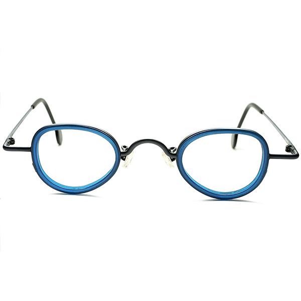 ART志向渾身作品 DEADSTOCK デッドストック 1990sITALY製 l.a.Eyeworksアイワークス INDIGO合金xFRENCH ブルーインナーリム 小径 変形 PANTO ラウンド ビンテージヴィンテージ 眼鏡メガネ a5671