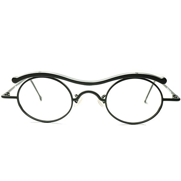 実用性配慮 ハイレベルARTピース 希少BLACK合金 1990s DEADSTOCK デッドストック ITALY製 l.a.Eyeworks アイワークス W-BRIDGE OVALラウンド 丸眼鏡 メガネ a5676