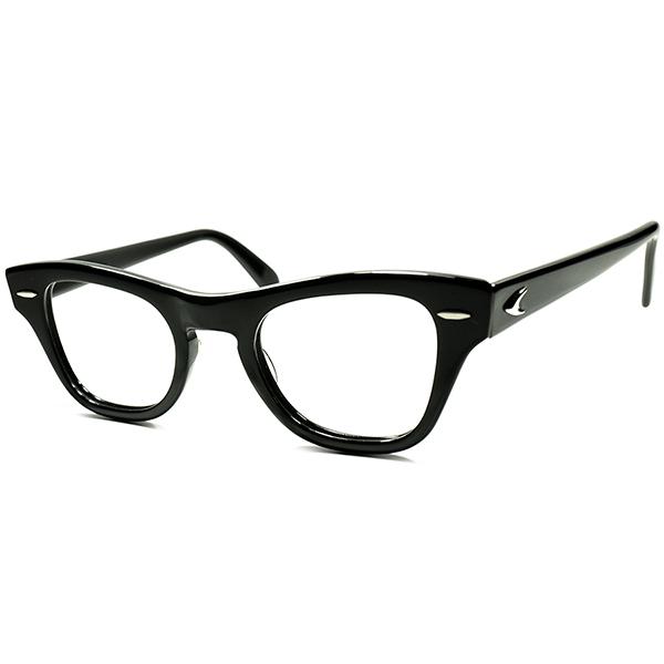 当時US大統領愛用ハイクラスモデル 枯渇極上個体 1950s-60s USA製 BAUSCH&LOMB ボシュロム B&L PRE-WAYFARER size44/22 ウェリントン黒 ビンテージ 眼鏡 メガネ a5692