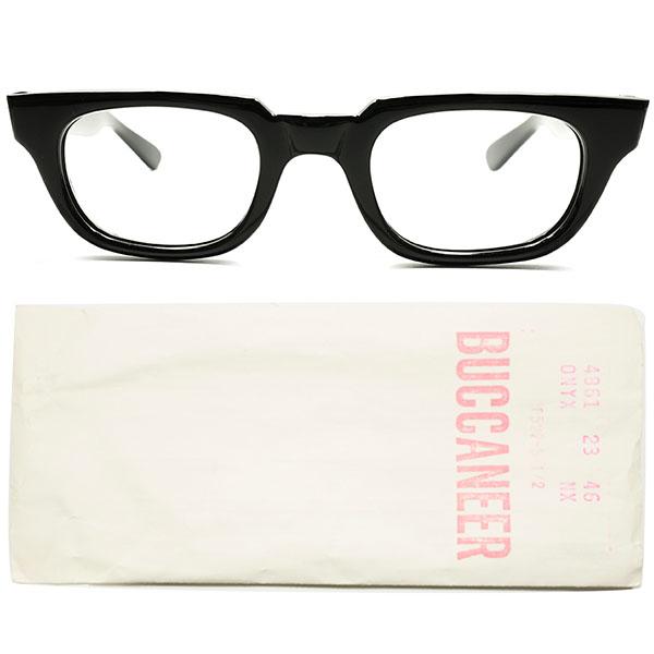 AO名作 MANHATTAN 同型 激RAREデイリー向モデル 1960s デッドストック AMERICAN OPTICAL アメリカンオプティカル BUCCANEER 黒ウェリントン ビンテージ 眼鏡 メガネ size46/23 a5693
