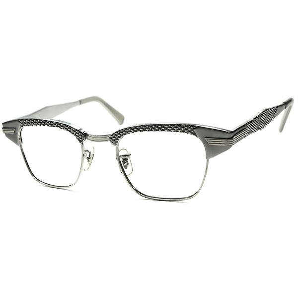 ハイグレードJEWERYテイスト 1960s デッドストック DEADSTOCK USA製 SRO パイソンパターン size46/22 ALL SILVER ブロー ビンテージ 眼鏡 1/10 12KGF 本金張 メガネ a5699