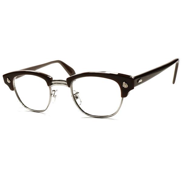 球数極少 GOLDEN SIZE 名作USブロー 1950s-60s USA製 AMERICAN OPTICALアメリカンオプティカル AOヒンジ ブロータイプ CHOCOLATE ビンテージ 眼鏡 メガネ size 44/22 a5712