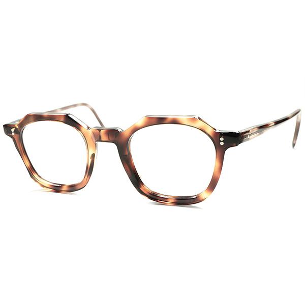 オールド感滲出 RAREピース 1950s DEADSTOCK デッドストック フランス製 MADE IN FRANCE オリジナル 台形ウェリントン玉型クラウンパント CROWN PANTO デミアンバー ビンテージ 眼鏡 メガネ a5737