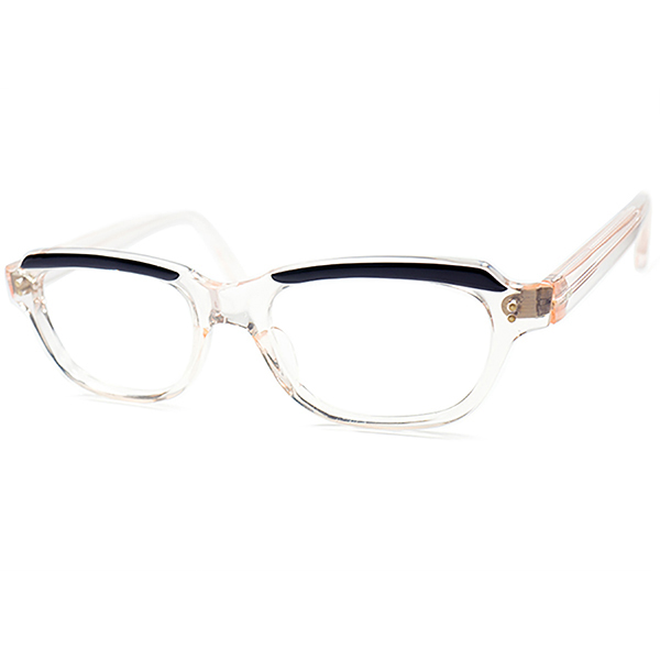進化系フレンチCLASSIC デザイン 1960s デッドストックFRAME FRANCE フランス製 AMOR STYLE ベース短縦ウェリントン FRESH PINK x 黒 ビンテージ 眼鏡 メガネ size48/18 a5740