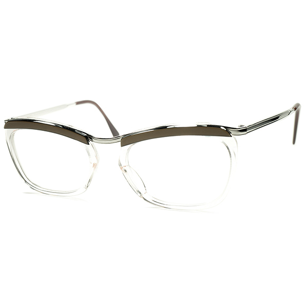 デイリー向け 美シルエットx快適サイズ DEADSTOCK デッドストック 1950s-60s FRAME FRANCE フレーム フランス フランス製 AMOR STYLE フレッシュxBROWN SILK 実寸49/20 ビンテージヴィンテージ 眼鏡メガネ a5743