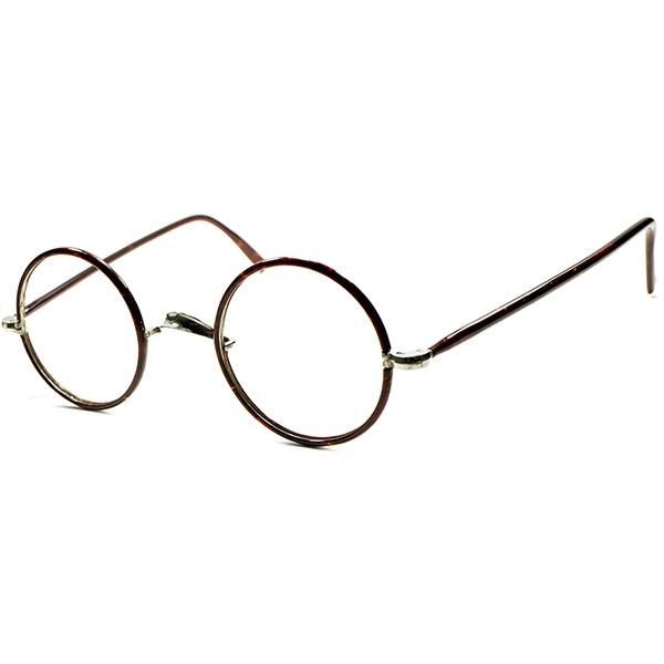 好条件スペック日常使いWELCOME 実用的GOOD SIZE 個体1920s-30sフランス製 DEADSTOCK デミ生地 ほぼFULLセル巻 正円ラウンド フレンチ ビンテージ アンティーク 丸眼鏡 丸メガネ ビンテージヴィンテージ 眼鏡メガネ a5744