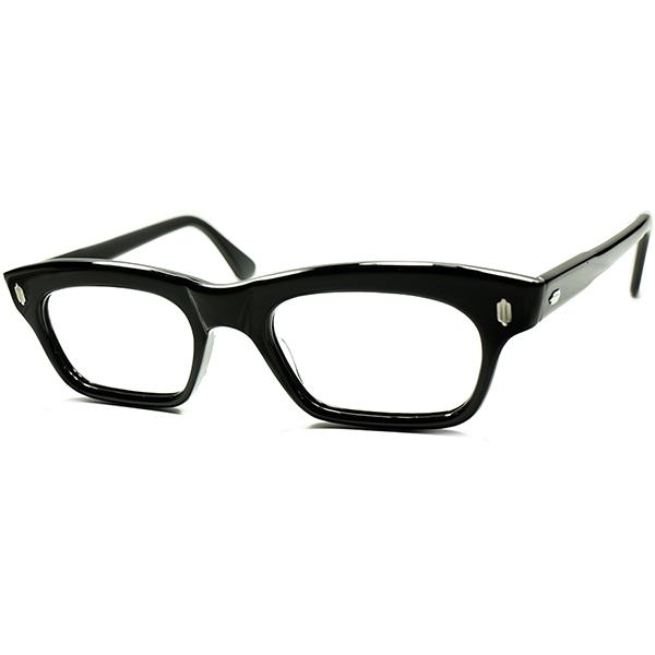 秀逸バランス感デイリー向け 1950s デッドストック DEADSTOCK FRAME FRANCEフランス製 ART CRAFT同一ヒンジ 短縦幅COMPACT ウェリントン希少BLACK ヴィンテージ 眼鏡 メガネ48/20実寸 a5747