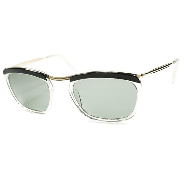 伝統的FRENCH CLASSIC STYLE モノトーン個体 1950s デッドストック FRAME FRANCE フランス製 初期物AMOR STYLE 実寸48/22 当時物ガラスLENS入 ビンテージ 眼鏡 メガネ a5753