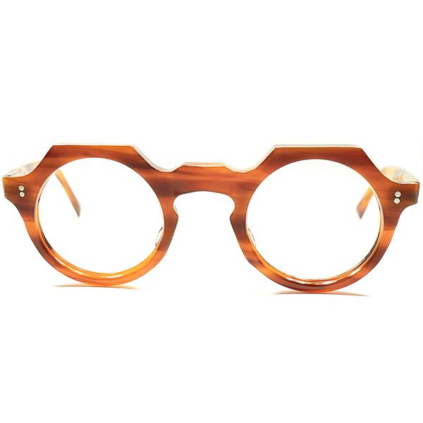 ミルフィーユ調 鼈甲色&GOOD SIZE 1950s フランス製 MADE IN FRANCE DEADSTOCK デッドストック 正円玉型 オリジナル クラウンパント CROWN PANTO 欧米人気カラー ビンテージ 眼鏡 メガネ a5755