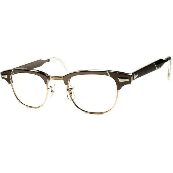 DEEP&REALアメリカン文化 1960s USマニアックメーカー WHITNEY USA製 DEADSTOCK 1/10 12KGF 本金張x ALUM 新ART DECO調ブロータイプ ビンテージ 眼鏡 メガネ size 44/22 a5764