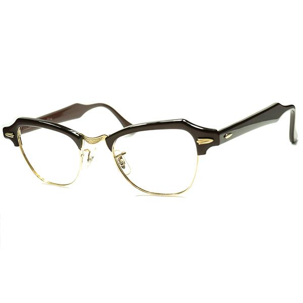 ART DECO踏襲UNISEX CLASSICデザイン DEADSTOCK デッドストック 1950s-60s USA製 B&L ボシュロム BAUSCH LOMB 金張 1/10 12KGF 彫金BRIDGEブロータイプ ビンテージヴィンテージ 眼鏡メガネ size 44/20 a5765