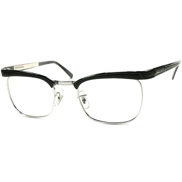 新境地 FRENCH xUS CLASSIC 1960sデッドストック USA製 LIBERTY 1/10 12KGF 本金張x BLACK GRAIN レザー風ALUM アモールBASE ブロータイプ ヴィンテージ 眼鏡 メガネ size 47/20 a5771