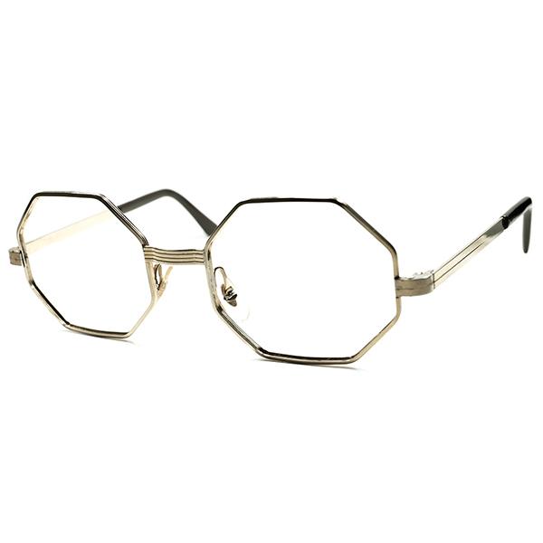 超高精度仕上げモデル 小顔向け個体 DEADSTOCK デッドストック 1960s USA製 本金張りMID CENTURY 八角形オクタゴン 実寸46/18 ビンテージ 眼鏡 メガネ a5772