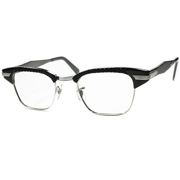 黒好きMUST SEE ドス黒アングラRUDEテイスト 1960sデッド ストック USA製 SRO 1/10 12KGF 本金張xBLACKパイソン ALUMブロータイプ ビンテージ 眼鏡 メガネ size 46/22 a5773