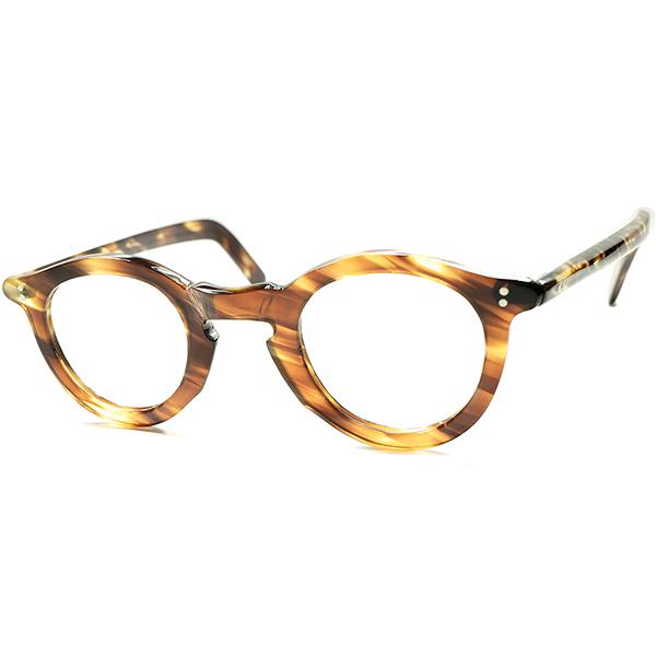 幻想的べっ甲模様 ハイレベル表情演出 1950s デッドストックDEADSTOCK FRAME FRANCE フランス製 キーホール 幅広FLATリム コルビジェ系PANTO ビンテージ 眼鏡 メガネ a5783