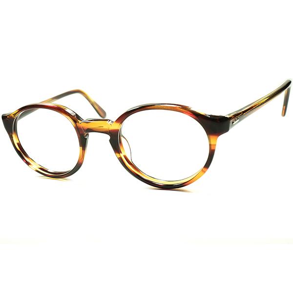 リアル IVY STYLE デイリーユース向優秀個体 1960s MADE IN USA ヒンジレス 短縦幅 KEYHOLE ボストン眼鏡 DEMI TORTOISE ビンテージヴィンテージ 眼鏡メガネ 実寸44/22 a5793