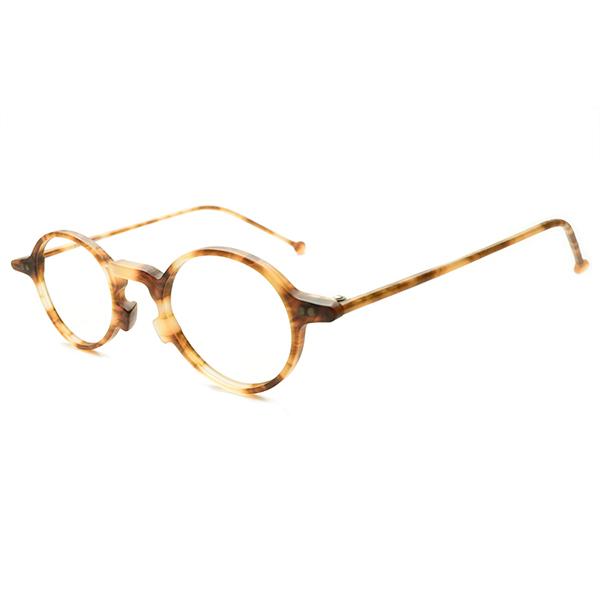 CLASSICベース実用的快適サイズ 1990s デッドストック DEADSTOCK ITALY製 l.a.Eyeworks アイワークス 変形BRIDGEx小径EYEフレンチPANTO ラウンド ビンテージ メガネ 眼鏡 a5801