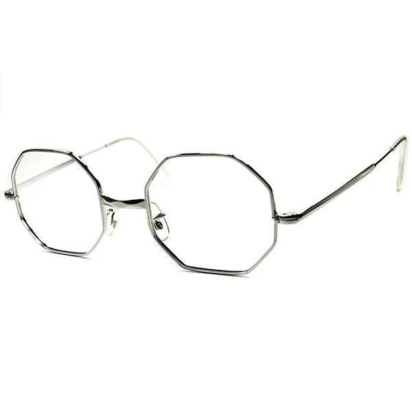 完璧シルエットx超快適FITハイレベル個体 1950s-60sフランス製 デッドストック FRAME FRANCE 多面的ブリッジ八角形 SILVER METALオクタゴン ヴィンテージ 眼鏡 メガネ 実寸47/21 A5821