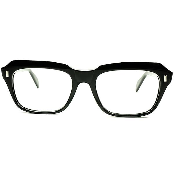 万能型優秀デザイン 1950s-60s フランス製 デッドストック DEADSTOCK FRAME FRANCE 球数少黒生地 ミリタリーSTYLE 傾斜CUUTING ウェリントン ビンテージ 眼鏡 メガネ 実寸 52/20 A5831