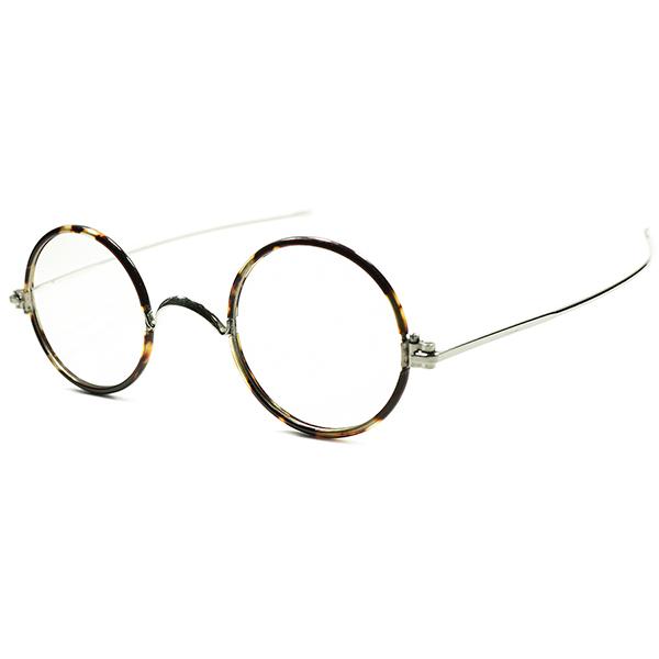 激CLASSIC 快適FIT x秀逸シルエット1920s-30s フランス製 MADE IN FRANCE DEADSTOCK デッドストック 極厚ヨロイxSTRAIGHT TEMPLEセル巻正円 ラウンド フレンチ ビンテージ 丸眼鏡 丸メガネ 実寸40/24 a5834