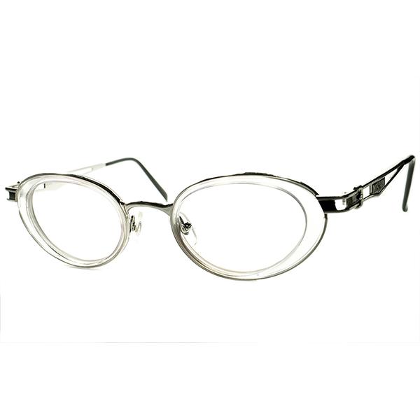 リアル90年代全盛テイスト 革新的アイウェアデザイン 1990s デッドストック DEADSTOCK ITALY製 モスキーノ MOSCHINOインナーリム OVAL ラウンド 丸眼鏡 丸メガネ ビンテージヴィンテージ 眼鏡メガネ a5843