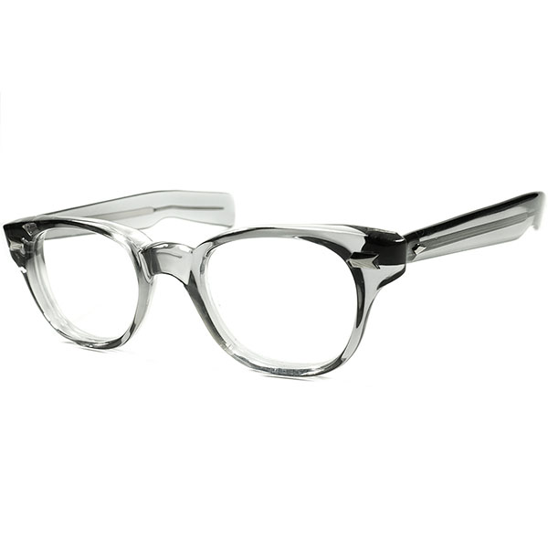 AOプレステージモデル 優良個体 1960s AMERICAN OPTICAL アメリカンオプティカル 蹄ヒンジ 肉厚ウェリントン JAGUARE極太テンプル ビンテージ眼鏡 メガネ size44/21 a5859