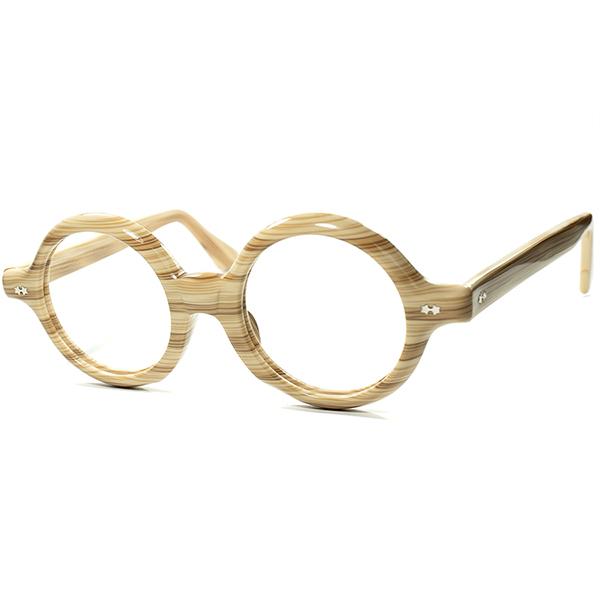 唯一無二CRAZY 1960s USA製 デッドストック 鬼才メーカーVICTORY OPTICAL W-STAR 肉厚コルビジェ真円ラウンド MAPLEWOOD 丸眼鏡 ビンテージヴィンテージ 眼鏡メガネ size 44/20 a5860