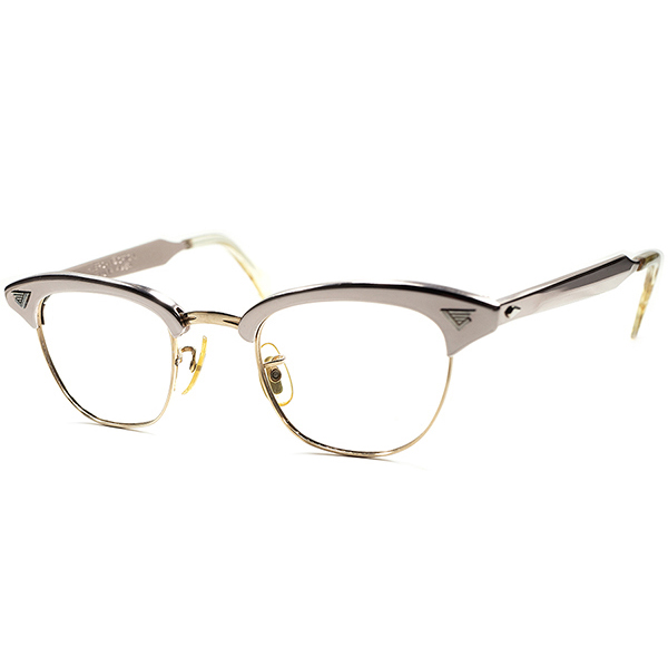 初登場激レア色 DEADSTOCK 1960s AO アメリカンオプティカル AMERICAN OPTICAL初期型 MALCOLM X マルコムX 44/22 桜色ALUM素材 x 金張GOLD 1/10 12KGF ビンテージ眼鏡 メガネ ブロータイプ サーモント a5870