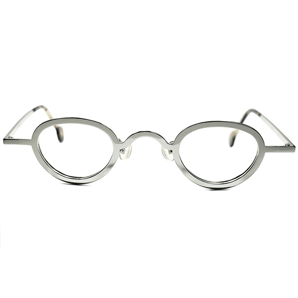 孤高オーラxULTRAデイリーSPEC 1990s デッドストック DEADSTOCK ITALY製 l.a.Eyeworks アイワークスx小径アイPANTO ビンテージ 丸眼鏡ROUND 最高格カラー鏡面 SILVER メガネ a5880