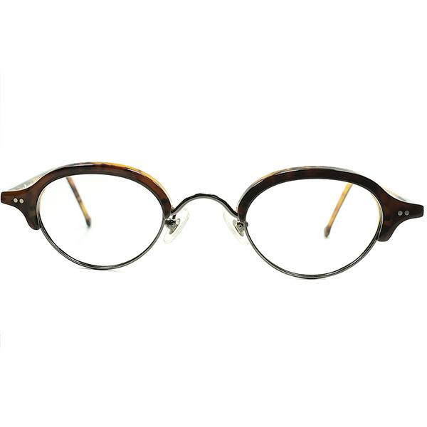 絶妙マリアージュ CHOCOLATE CAKEカラー 1990sデッドストック DEADSTOCK ITALY製 l.a.EyeworksアイワークスOVALROUNDブロータイプ ヴィンテージ 丸眼鏡 デイリーユース向け メガネa5884