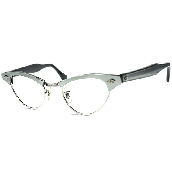 デッドストック DEADSTOCK 1960s SRO STYL RITE OPTICS 1/10 12KGFアールデコSTYLE 本金張 CAT EYEブロー ビンテージ 眼鏡 メガネ 彫金ブリッジ PEARL GRAY size 42/20 a5888