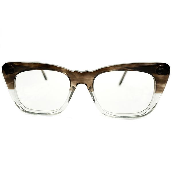 稀少ディテール&小顔向け SMALLサイズ 1960s デッドストック DEADSTOCK 英国製 山型BRIDGE ウェリントン SMOKE AMBER FADE size44/18 ビンテージヴィンテージ 眼鏡メガネ a5889