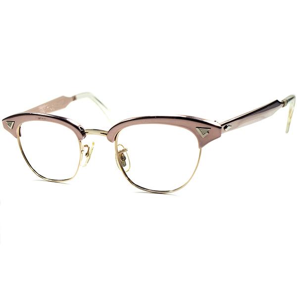 CRAZYテイスト 鬼RARE色 DEADSTOCK 1960s AO AMERICAN OPTICAL アメリカンオプティカル MALCOLM X 初期型マルコムX 44/22 CORAL PINK ALUM素材x 金張 1/10 12KGF ビンテージヴィンテージ 眼鏡メガネ ブロータイプ サーモント a5892