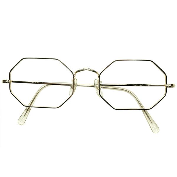 老舗UK CLASSIC 大きめサイズ個体(キズ箇所あり) 1960s-70s DEADSTOCK デッドストック 英国製 ALGHA 本金張 12KTGF オクタゴン OCTAGON ヴィンテージ 眼鏡 メガネ size 52/20 A5894
